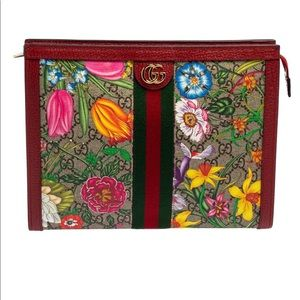 New with box Gucci Ophidia Flora GG Pouch Red